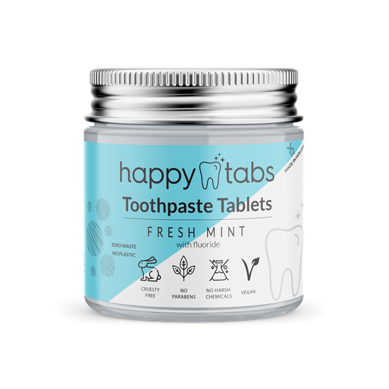 Bild von Happy Tabs - Zahnpastatabletten - Innovative Zahnpasta - Fresh Mint - ca. 80 Kautabletten