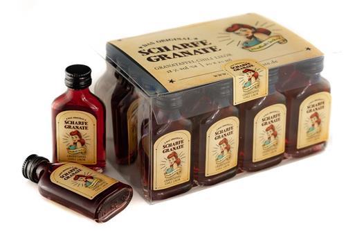 Bild von Scharfe Granate - Das Original - Granatapfel-Chili-Likör - Mit 18% Alkohol  - 20er Box Taschenflaschen á 20 ml