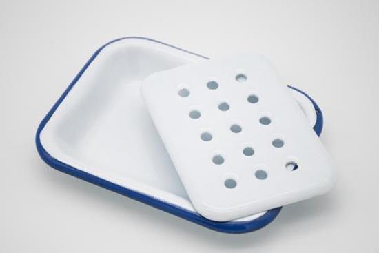 Bild von Klar - Seifenschale aus Email, weiß blau