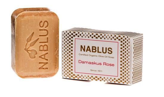 Bild von Nablus Soap - Natürliche Olivenölseife - Mit Damaskus Rose - Handgemacht und Palmölfrei - 100 g
