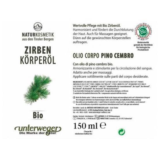 Bild von Unterweger - Zirben Körperöl Bio - 150 ml