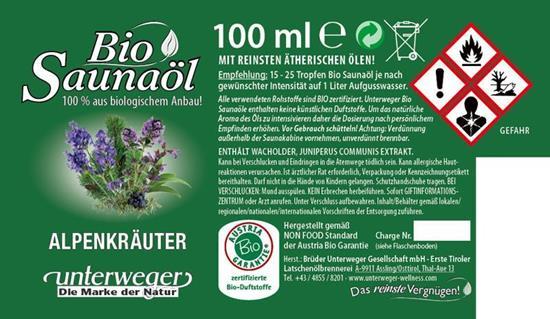 Bild von Unterweger - Bio Saunaöl Alpenkräuter - Mit reinen ätherischen Ölen - 100 ml