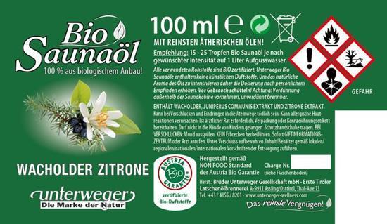 Bild von Unterweger - Bio Saunaöl Wacholder Zitrone - Mit reinen ätherischen Ölen - 100 ml