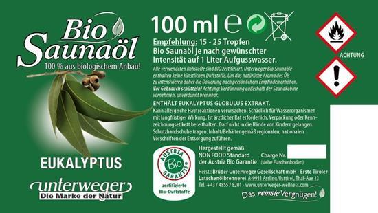 Bild von Unterweger - Bio Saunaöl Eukalyptus - Mit reinen ätherischen Ölen - 100 ml