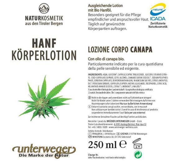 Bild von Unterweger - Hanf Körperlotion für sensible Haut - Mit reinem Hanföl aus biologischem Anbau - 250 ml