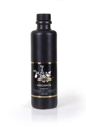 Bild von Arganhain - Arganöl / geröstet - Reines Bio Speiseöl - In der Steingutflasche - 200 ml